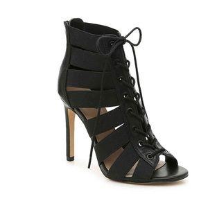 Brand new, NBW, black mix no. 6 lace up heels
